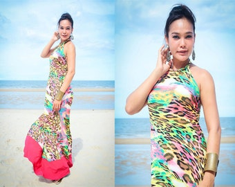 Color block Pink Animal printed  Halter backless long maxi dress sun evening S M L XL