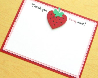 Strawberry Thank You Note Card ~ Red & Pink