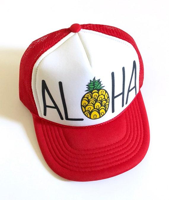 Kids Aloha Trucker Hat| Red and White | keiki hat| Aloha Hat| Hawaii Hat| Pineapple Hat| Pineapple| Beach Hat| kids Hat