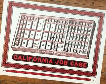 CALIFORNIA JOB CASE Letterpress poster Type case Hamilton type case Printmakers gift Studio decor Hand printed Letterpress Graphic designer