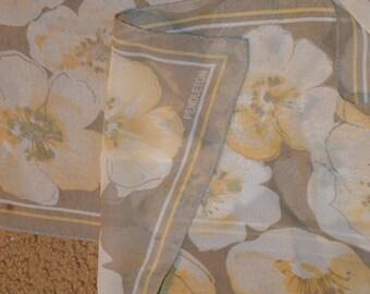 "Pendleton / silk crepe scarf / yellow / beige / floral /  52"" x 10"" / silk / crepe / scarf / ladies scarf / vintage scarf / vintage silk"