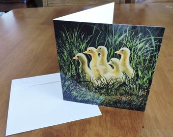 Ducklings square blank notecard Frameable 5.5x5.5 inches