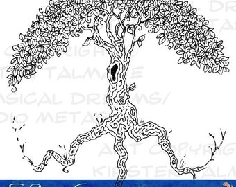 Peace Tree - digital stamp for gifts, scrapbooks, tags, cards  (Ink line art by Kir Talmage)