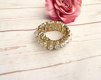 Aurora Borealis Bracelet - Vintage Cuff Bracelet - Crystal Bracelet - Vintage Crystal Cuff - 50s Vintage Bracelet - Statement Bracelet