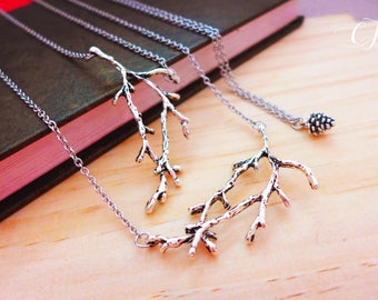 Antique Silver Twig Necklace, Layered and Long Necklace for Women Boho Layered Necklace Set Silver Branches Necklace Rustic Jewelry Handmade