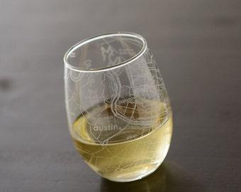 Austin Maps Stemless Wine Glass