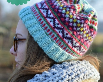 Knitting pattern Fair Isle hat - English and/or Dutch - PDF format