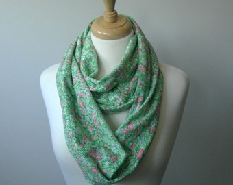 Green Infinity Scarf with Pink and White Flowers