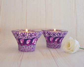 Sale!!Candle Holder, Candle holder centerpiece, Tea light candle holder Judaica candle holder, Purple candle holder