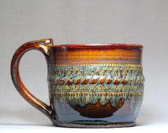 16oz mug,  pottery tea or coffee cup, hand thrown pottery mug