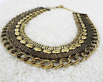 Gold Caravan Statement Necklace Ethnic Tribal Jewelry