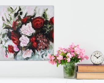 "Oil Painting Flowers Abstract Art Original // ""Demure"" 16 x 16"" on Canvas"