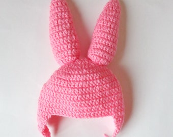 Pink Bunny Ear Flap Hat - Rabbit Hat Costume - For Girl Newborn to Adult Photo - Halloween / Cosplay Wig