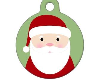 Pet ID Tag - Santa - Pet Tag, Dog Tag, Cat Tag, Luggage Tag, Child ID Tag