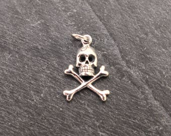 Skull and Crossbones Pendant, Sterling Silver, Skull Pendant, Skull Charm, Pirate Pendant, Jolly Roger, Pirate Jewelry, Necklace, 925