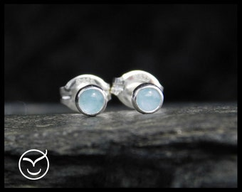 March birthstone earrings - Natural aquamarine gemstone earrings, 3 mm, sterling silver, sleepers earrings. 259