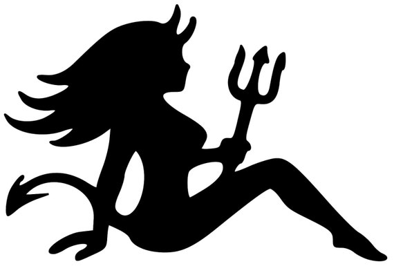 mudflap devil woman trucker seated lady girl vinyl decal sticker 5 x 35 free shipping