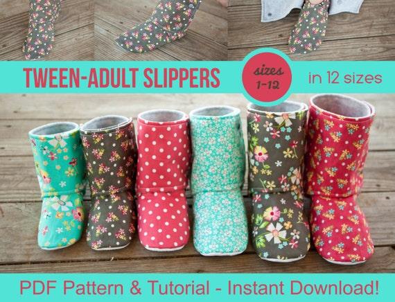 Tween & Adult Slipper Pattern - pdf Sewing Pattern for Men\'s or ...