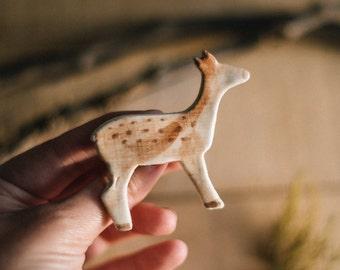 Deer Handpainted ceramic brooch. Ceramic brooch, nature accessories, Little deer brooch, deer pin. Handmade clay brooch. Wildlife. Miniature