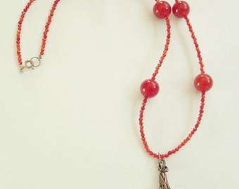 "Carnelian and amber gemstone necklace, 17"", burnt orange, sterling silver, carnelian necklace, amber pendant, july birthstone"