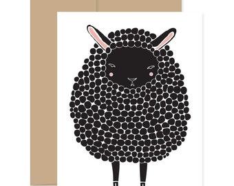 Black Sheep Card, Baby Shower Card, Black Lamb Card, Baby Card, Congratulations Card, Easter Card, Sheep Greeting Card