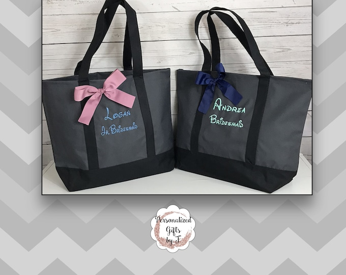 Monogrammed Tote, Personalized Bridesmaid Gift, Tote Bag, Wedding Party Gift, Bridal Party Gift, Initial Tote, Mother of the Bride Gift