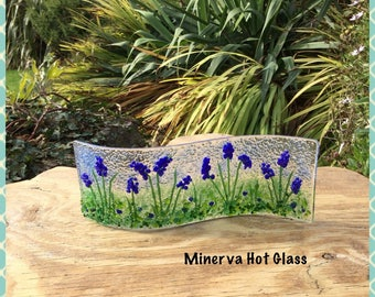 Bluebell Flower, Fused Glass, Glass Curve, Curved Art Glass -  Minerva Hot Glass, Christmas Wedding Mum Dad Gift