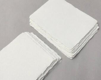 "5"" x 7"" Ivory, 210gsm Handmade Deckle Edge Cotton Rag Paper // Deckle Edge Paper, Cotton Paper, Invitation Paper, Calligraphy Paper, 210gsm"