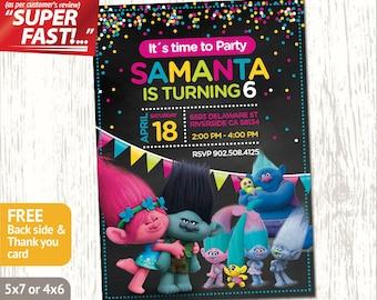 TROLLS INVITATION Girl, Trolls Birthday Party Invite, Trolls Party Card, Trolls Invite, Trolls Birthday Invitation, Free Thank You Card, v1g