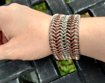 European 6 in 1 Chainmaille Bracelet in Silver and Copper
