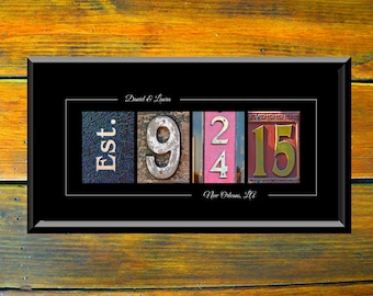 Couples Gift - Wedding Date Print - Anniversary Gift Idea For Her - Wedding Date Sign - Personalized Wedding Gift Idea – Established Sign