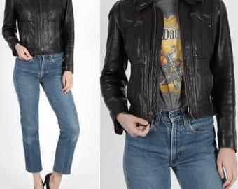 Motorcycle Jacket Cropped Jacket Leather Jacket Black Leather Jacket Vintage 70s Skinny Jacket Cropped Biker Racer Jacket S Cafe Racer