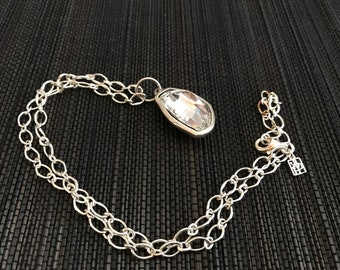 Cool Boho Sterling Silver and Glass Necklace C&H