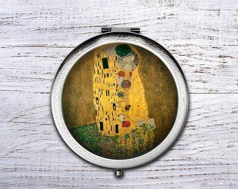 Personalized Circles Klimt, Compact Mirror, Bridesmaid Gifts Cosmetic Mirror Personalized Gifts for Mom, Birthdays, Ladies, Girls, Women