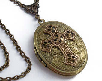 Etched Bronze Oval Locket - Spiritual Adornment