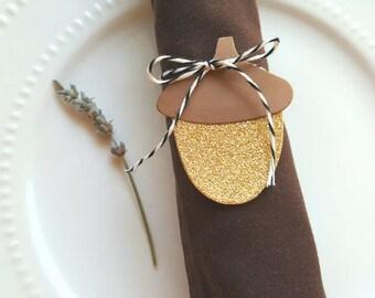 Acorn die cuts, Acorn cut outs Autumn decor,Gold acorn diecut,Autumn wedding decor Thanksgiving decor Paper acorn Acorn tags Winter tags