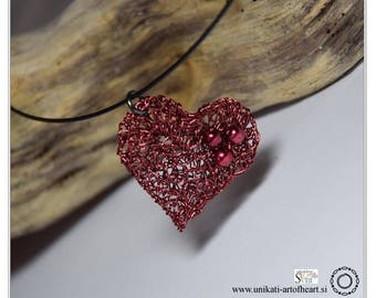 Crochet Wire Necklace / Crochet Wire Pendant / Wire Jewelry / Red Heart Pendant / Wire Pendant / Modern Necklace / Contemporary Necklace