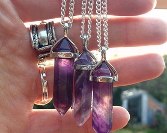 Amethyst necklace, amethyst pendant, amethyst crystal necklace, amethyst choker, healing crystals and stones by Serenity Project.