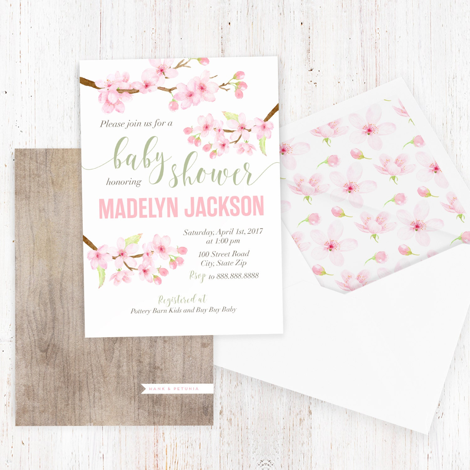 Cherry Blossom Baby Shower Invitation Watercolor Floral Baby Shower