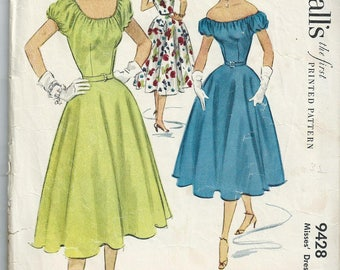 Vintage 1953 sewing pattern McCall's 9428 circle skirt peasant top size 12