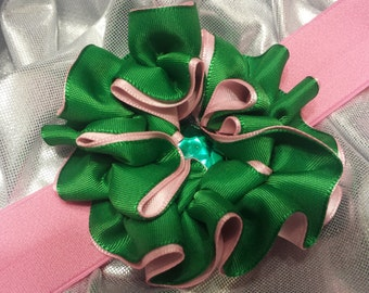 Girls Pink and Kelly Green Headband