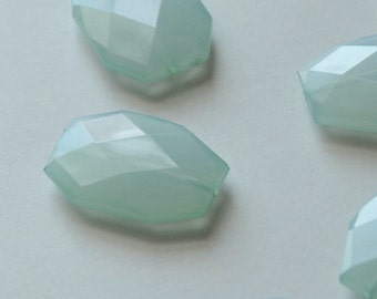 Seafoam Green, Faceted Acrylic Beads, Chunky Beads, 34x24mm, Translucent Acrylic Flat Polygon, Nugget Beads, 10 Pieces, Shipping from USA