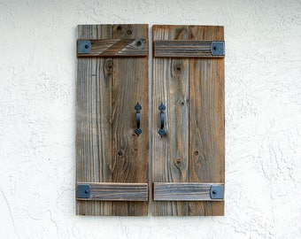Rustic Shutters. Set of 2. Wooden Door Shutters.   Antique Shutters. Farmhouse Decor. Industrial Decor. Rustic Decor. Indoor or Outdoor. L