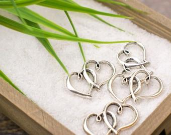 Antique Silver Double Love Heart Charm Pendant (4 Pieces)
