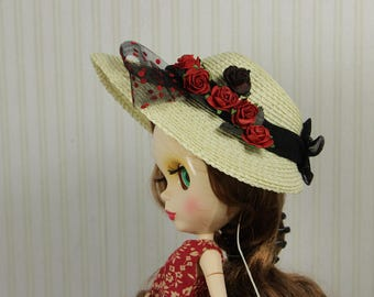 """Blythe Premium straw doll hat, vintage style hat with red and black flowers, for Blythe and other dolls, for head circumference 10-11.5"""""""