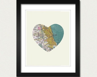 Chicago Art City Heart Map - 8x10 Art Print