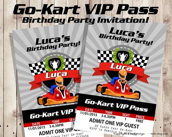 Go kart vip pass birthday party invitation vip pass like this item stopboris Images