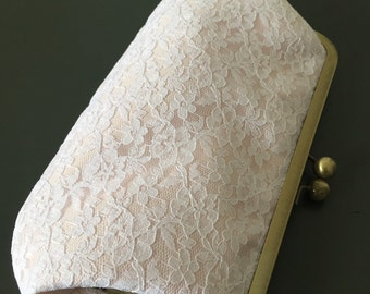 White and Blush Cotton Lace Flower Clutch