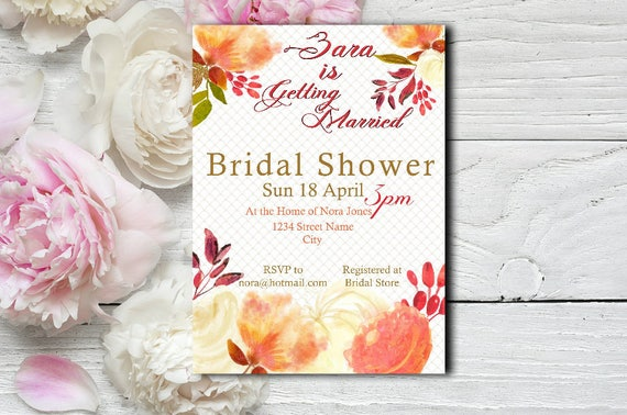 Coral Floral Bridal Shower Invitation
