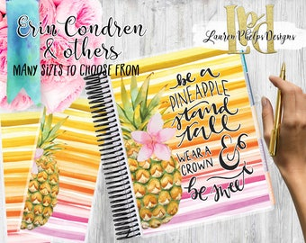 Planner Cover, Laminated 10mil, for use with, Erin Condren , Happy Planner, Summer   Watercolor   Floral   Pineapple   121
